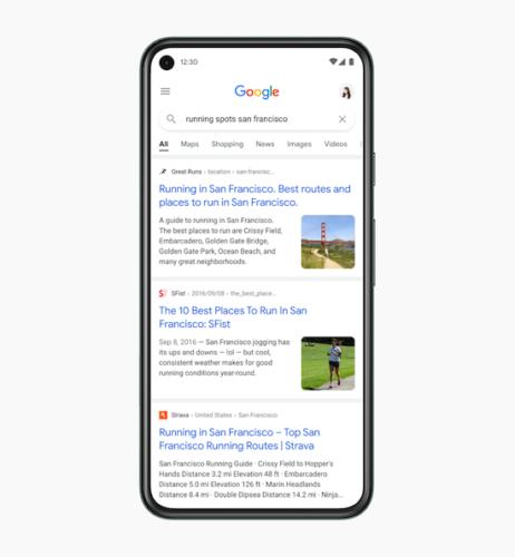 Google モバイル検索結果デザインの特徴