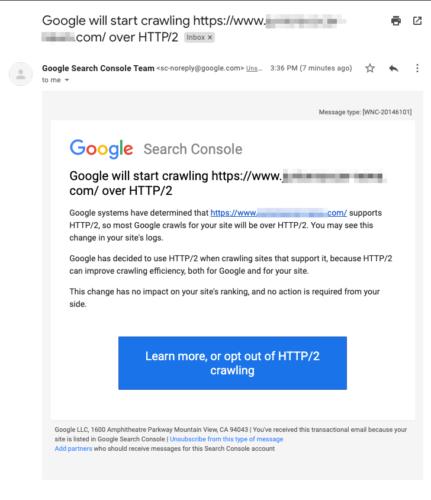 Google 検索クローラーがHTTP/2でのクローリングを開始した事の通知メール
